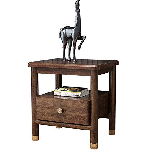 Walnuss-Vintage-Nachttisch Mit Einer Schublade Und Entwickelter Stauraum, Kommode, Schlafzimmermöbel Und Dekorative Schränke, Sofa-Beistelltisch, 50 * 40 * 52 Cm