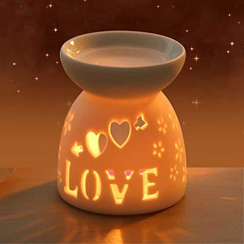 Bruciatore a candela in ceramica Tealight, bruciatore a petrolio, lampada per profumo di notte, candela per cera aromaterapica, bruciatore per torta, diffusore più caldo per camera da letto(Amore)