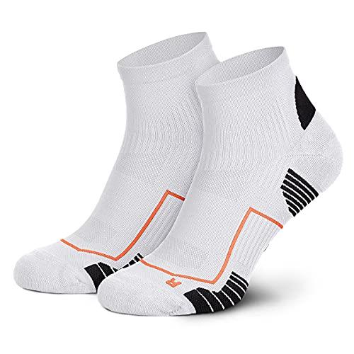 Piarini Laufsocken Herren Kurz Atmungsaktive Jogging Socken MESH Gewebe Lauf Socken Anti-Blasen Naht Fitness Socken Sportsocken Weiß Schwarz 39-42