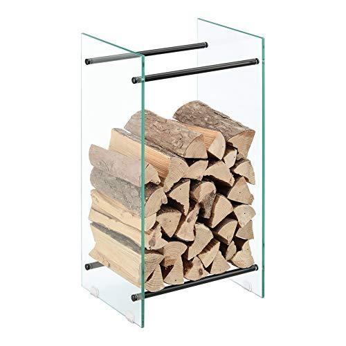 [en.casa] Kaminholzregal aus Glas 40x80x35cm Feuerholzständer Oshawa Brennholzregal Feuerholzregal Kaminholzhalter