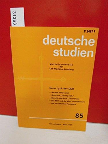 deutsche studien . Vierteljahreshefte der Ost-Akademie Lüneburg . XXII. Jahrgang - März 1984