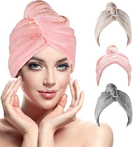 Haarturban, RenFox Turban Handtuch mit Knopf, Microfaser Handtuch für die Haare Schnelltrocknend, Haartrockentuch Saugfähig Super Absorbent, Haar Trocknendes Tuch für Alle Haartypen