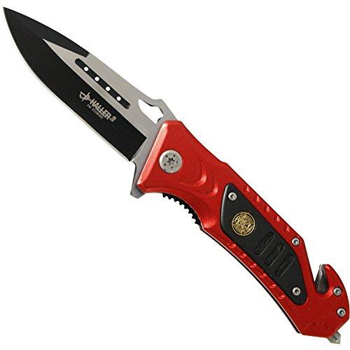 Haller 84665 Rescue Taschenmesser rot/schwarz Messer, One Size