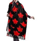 Elaine-Shop Canadiana Maple Leaf Comfortable Shawl Scarf Bufanda de invierno de cachemira para mujeres hombres