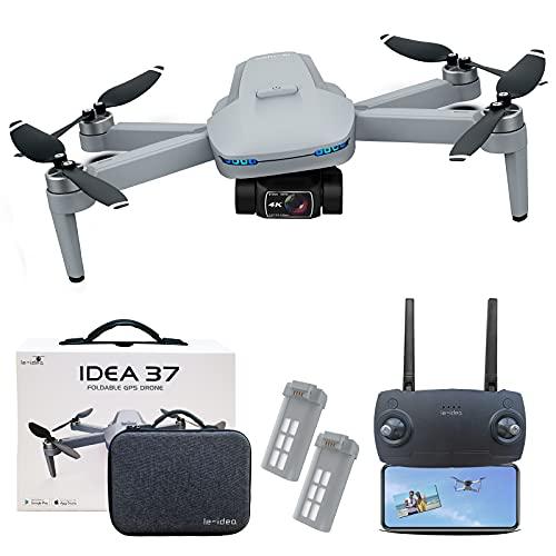 le-idea IDEA37 Drone 4K Professionale GPS, 2 Assi Gimbal con Telecamera HD EIS, Foto 8 MP, 2.5 HD Trasmissione Video, Droni Pieghevole 5GHz con Motore Senza spazzole, 50 Minuti di Volo(2 Batterie)