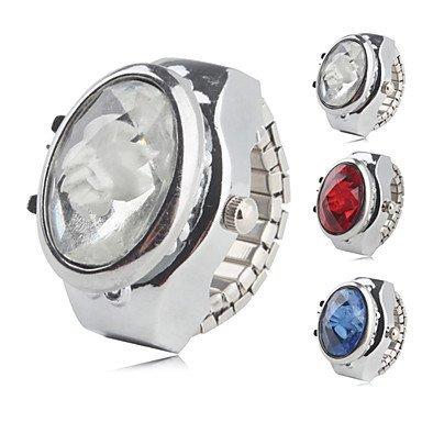 Fenkoo Frauen-Legierung analoge Ring-Uhr mit Blume (farbig sortiert)