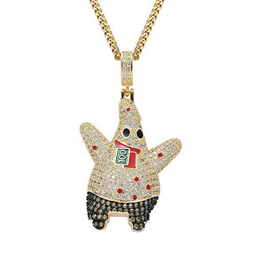 Union Power Cartoon Spongebob Patrick Star Pendant Chain Hip Hop Zircon Iced Out CZ Necklaces Gifts for Men Women Kids (Gold)