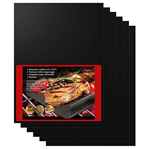 HONGCI Tapis de Cuisson Haute Qualité pour Barbecue et Four-Set de 2 Tapis très épais de 40 * 33cm pour Les Barbecue à gaz, Charbon et électriques. L'accessoire Indispensable Tapis Silicone pour BBQ
