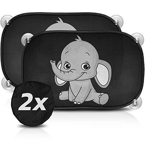 SMARTCAR ADDS Parasol Coche bebé con protección UV - Protección del Sol y el Calor, Parasol Coche Infantil con ventosas y Bolsa de Transporte, diseño de Elefante