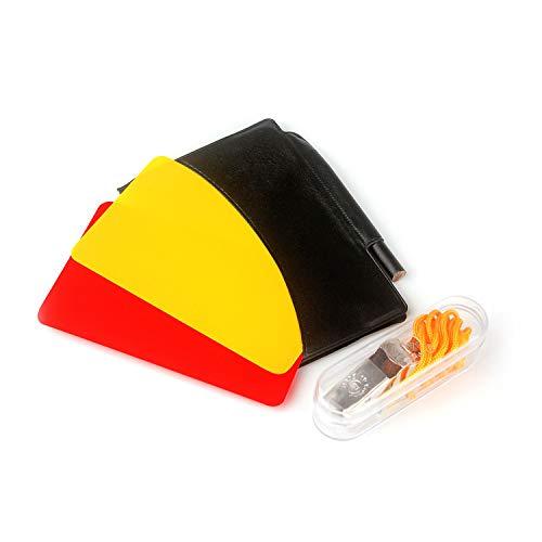 Juego de tarjetas de árbitro de fútbol, tarjeta amarilla y silbato de árbitro de metal para fútbol