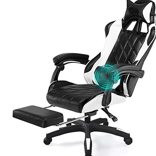 KJRJZY PC Gaming Chair Ergonomic Racing Heavy Duty Office Chair Video Game Chair, Massage Function Lumbar Support with Arms Footrest & Headrest, Adjustable Best Home Office Chair