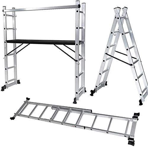 CO-Z 3 en 1 Escalera de Alumino Plegable Multifuncional 276cm Andamios de Aluminio de 6 Peldaños hasta 150Kg Escalera Telecópica con 2 Ruedas