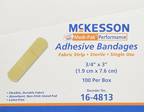 Performance Bandage Adhesive Fabric Strip 3/4'X3' Latex Free - Box of 100