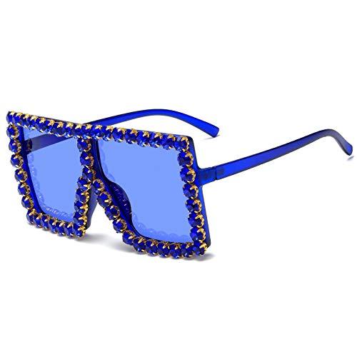 NJJX Gafas De Sol Cuadradas De Gran Tamaño Con Diamantes De Colores A La Moda Para Mujer Con Montura Grande, Gafas De Sol Para Mujer 09