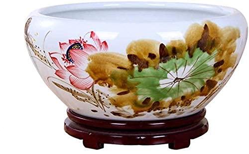 Maceta de cerámica de estilo chino, pecera de cerámica multifunción, sala de estar, decoración de mesa, sembradora de plantas hidropónicas con bandeja de madera, decoración de interiores, decoración