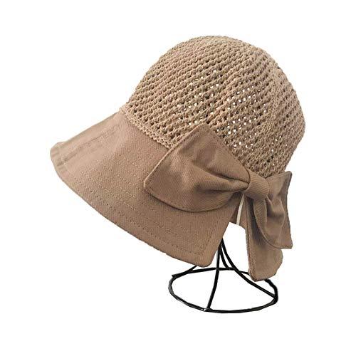 MissLi Sombreros De Verano para Mujer, Sombrero De Sol Plegable Transpirable De Punto con Lazo, Protección Solar, Sombrilla, Sombrero De Playa Coreano, Gorra De Viaje (Color : 6)