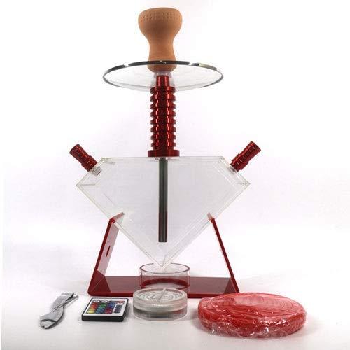 JYXZM Hose Hookah Complete Set Triangle Acrylic Elegance Shisha with LED Lights, Silicone Bowl, Hose, Charcoal Tongs | Best Shisha, Nargile, Hookah, Nargila Experience (Color : Red)