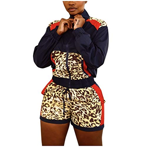Best Deals! Missli Women Long Sleeve Zip Jacket + Leopard Patch Print Shorts Sports Suit 2 Piece Swe...