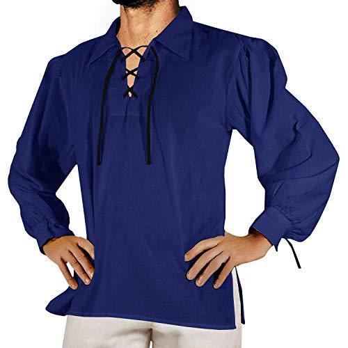 Makkrom Mens Medieval Pirate Costumes Lace Up Long Sleeve Sleeveless Viking Mercenary Renaissance Scottish Cosplay Shirts