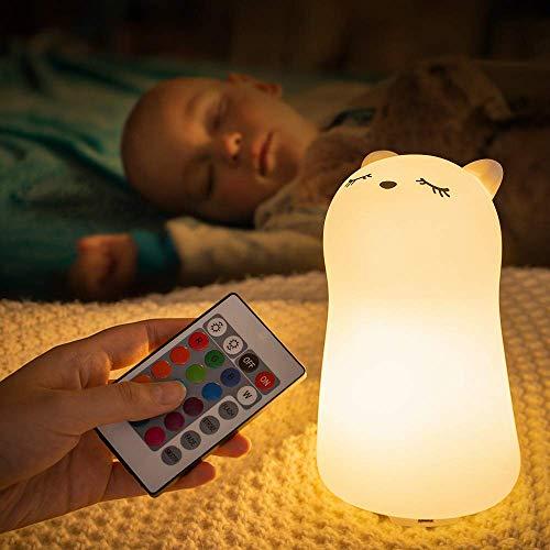 Gato Lampara Infantil Nocturna,Bebé Luz Quitamiedos de Noche para Niños Dormir, Kawaii Anime Silicona Recargable USB 7 Modos Colores Portátil Led Decoración Cuarto Suave Regalo Bebés Mamá Muje