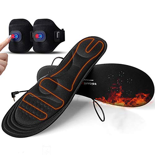 Heated Insoles with Power Display,Gimilife Heated Foot Warmer Insole for Man Woman with Rechargeable Battery Powered,Adjustable Temperature Electric Pads on Skiing Hunting Hiking Camping M