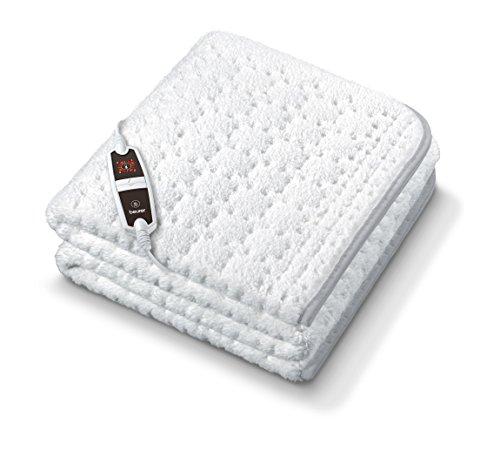 Beurer 314.78 UB 65 elektrische warmteonderbed met super zacht oppervlak en versterkt verwarmde voetzone, nooit meer koude voeten in bed, wit