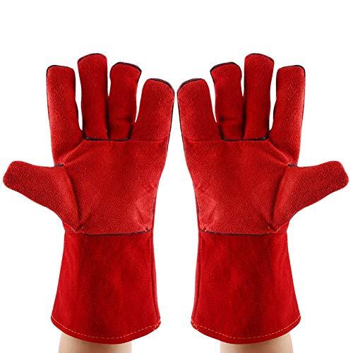Zunate lashandschoenen, 1 paar hitte-/vuurvaste rundlederen lashandschoenen, 13 inch veiligheidshandschoenen voor oven/grill/open haard/oven/oven/oven/pannenlappen/pruik lasser/Mig/BBQ, rood