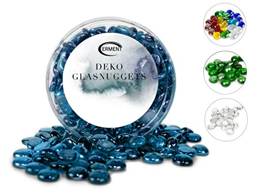 Erment - Hübsche Glasnuggets blau- 800g – formschön & sauber – Glas Muggelsteine, Dekosteine I Deko, Vase, Legematerial, basteln etc.