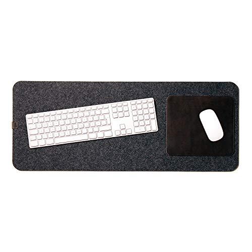Pack & Smooch Große Schreibtischunterlage Mouse Pad Matte 74x30cm aus Merino Filz und Natur-Leder für Linkshänder und Rechtshänder - Anthrazit