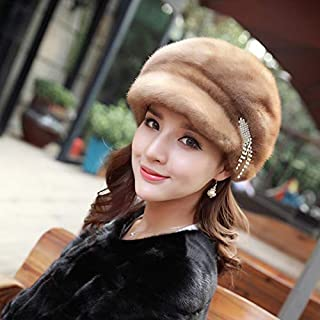 Autumn and Winter 2016 New Warm Earmuffs Duck Tongue Mink Hat Female Models Fur Hat Drill Gray