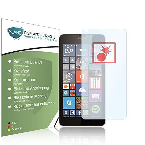 Slabo 2 x Panzerschutzfolie Microsoft Lumia 640 / Lumia 640 Dual-SIM Panzerfolie Bildschirmschutzfolie Schutzfolie Folie Shockproof|Stoßfest unsichtbar Made IN Germany