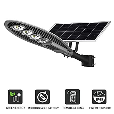 Commercial Solar Street Light, 20000LM 6000K Outdoor Solar Powered Street Lamp with Remote Control Super Bright, LOVUS, ST200-007