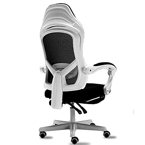 Ergonomischer Bürostuhl - hochrückende Schreibtischstühle mit verstellbarer Lordosenstütze, Stretching Armlehne, mit ruhigen Riemenscheibenrädern, Kopfstütze und atmungsaktives hautfreundliches Mesh