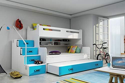 Etagenbett Luca II, Treppe mit Schubladen + Bettkasten, Blau