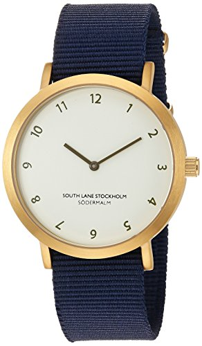 South Lane Stainless Steel Quartz Watch with Nylon Strap, Blue, 20 (Model: 912)