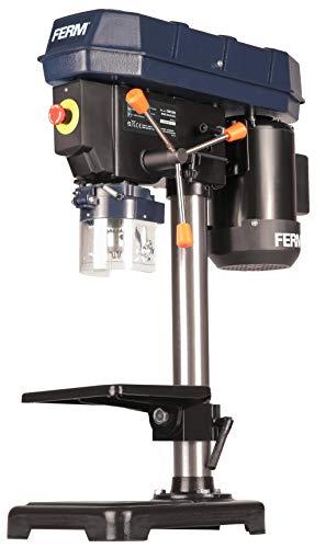 FERM Trapano a colonna da banco 350W, 13 mm . Velocità regolabile. Banco da lavoro 160 x 160mm inclinabile fino a 45°