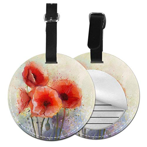 LuggageTags Blood Red Color Flower Poppy DIYLuggageTags LuggageAccessoriesTags with Adjustable Black Strap for Bags & Baggage with Privacy Protection for Women Men