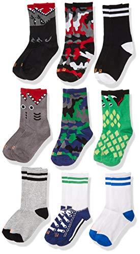 K. Bell Socks Boys' Big Novelty 9 Pack Crew, Gray, Shoe: 13-4
