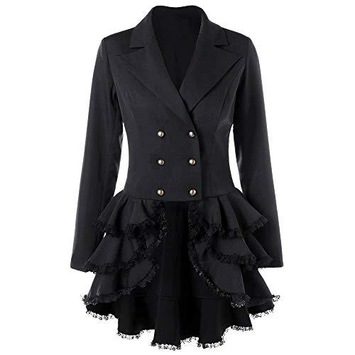 WQIANGHZI Damen Steampunk Gothic Mäntel Frack Vintage Viktorianische mittelalterliche Jacke Barock Punk Overcoat Taille Rücken Bandage Stitching Westen Kostüm Cosplay Uniform (Schwarz, M)
