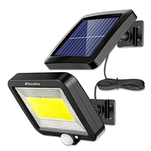 Luz Solar Exterior con Sensor de Movimiento, Rluobo 100 LED Focos Solares Exterior 120 ° súper brillantes, IP65 Impermeable, 3 modos con cable de 16.5 pies, Luces Solares Led Exterior Jardin Blancas