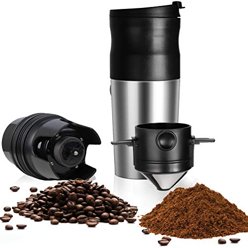 ChefGiant Portable Coffee Maker with Grinder | USB Rechargeable Insulated Stainless Steel Travel Cup with Built-In Automatic Ceramic Burr Bean Grinder, Small Pour Over Coffee Maker, On The Go Lid & Spout