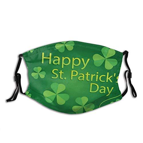 Máscara facial del día de San Patricio, pasamontañas lavables verdes, con filtros de cara y pasamontañas, Patrón de hojas de trébol, Talla única
