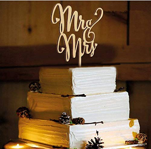 Mr and Mrs Cake Toppers, KOOTIPS Wooden Wedding Cake Topper Party Cake Decoration (Mr and mrs cake topper A)