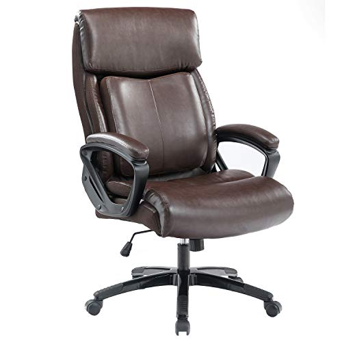 BOSMILLER Office Chair High Back Computer Chair Ergonomic Desk Chair, PU Leather Adjustable Height Modern Executive Swivel Task Chair with Padded Armrests and Lumbar Support