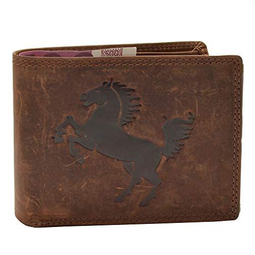 Portemonnee buffelleer portemonnee met paarden reliëf motief liggend formaat