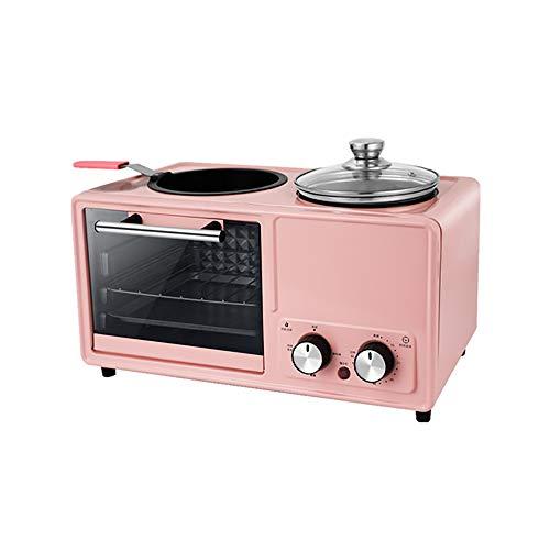 SSZZ Home Multifunktionale Frühstücksmaschine Vier in Einem Gebratenen Braten Automatische Elektrogerät Antihaft Leicht Zu Reinigen,Rosa,A