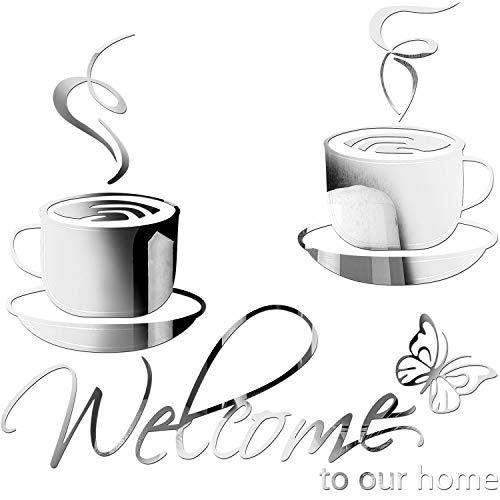 3 Stücke Haus Abnehmbare Acryl Spiegel Einstellung Wandtattoo, Enthalten 1 Welcome to Our Home Wand Aufkleber, 2 Cafe Tee Wand Aufkleber Kaffeetasse Vinyl Aufkleber