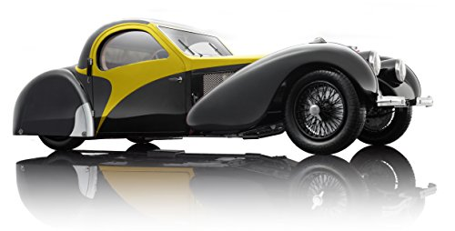 Bauer Exclusive Bugatti Type 57SC Atalante 1937 Voiture Miniature de Haute qualité 1:12 en édition limitée, avec Portes et Capot ouvrables, prêt à l'emploi, Noir/Jaune (7828-Z75Y)