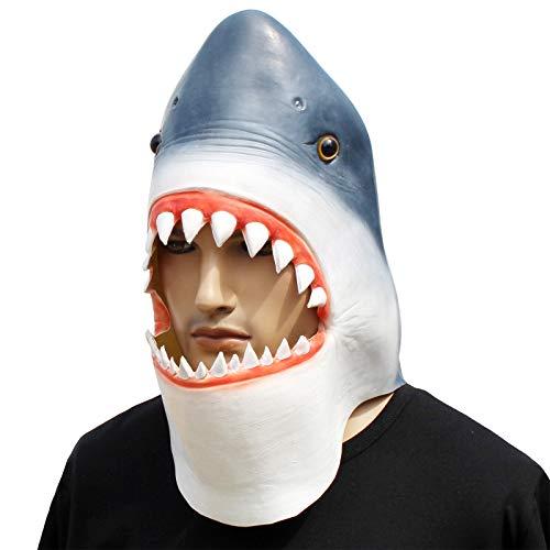 CreepyParty Fiesta de Disfraces de Halloween Máscara de Cabeza de Látex Animal Tiburón