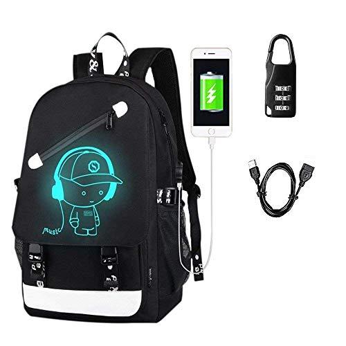 Aokay USB Schulrucksack Schulranzen Schultasche Sports Rucksack Freizeitrucksack Daypacks Backpack mit dem Schloss für Mädchen Jungen & Kinder Damen Herren Jugendliche (Schwarz)